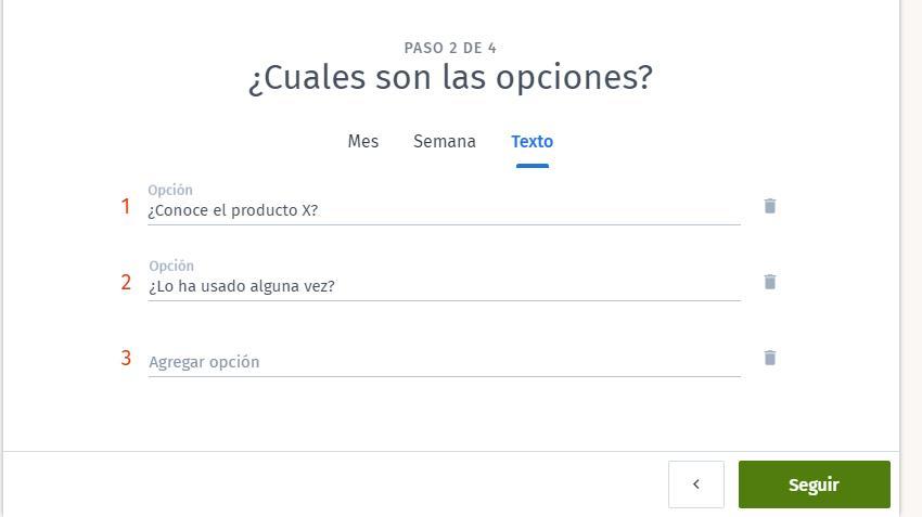Páginas para hacer encuestas - Introducir preguntas Doodle