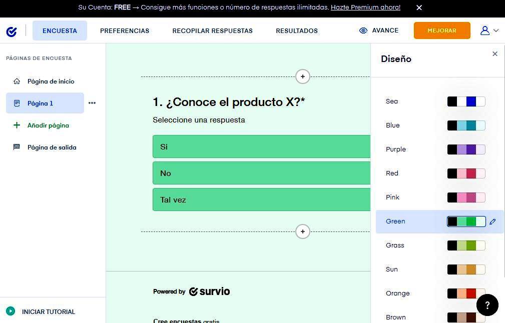 Páginas para hacer encuestas - Personalización encuesta Survio