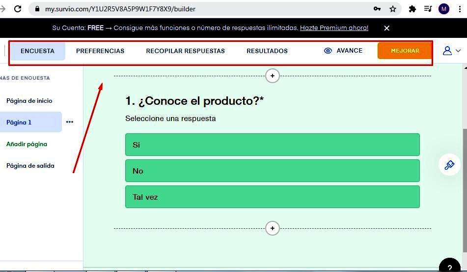 Páginas para hacer encuestas - Opciones de preferencias Survio
