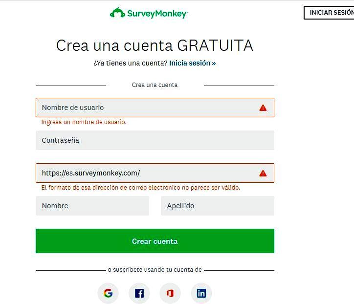 Páginas para hacer encuestas - Registrar cuenta SurveyMonkey