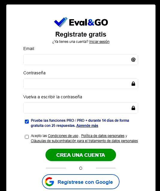 Páginas para hacer encuestas - Registro en Evalondgo