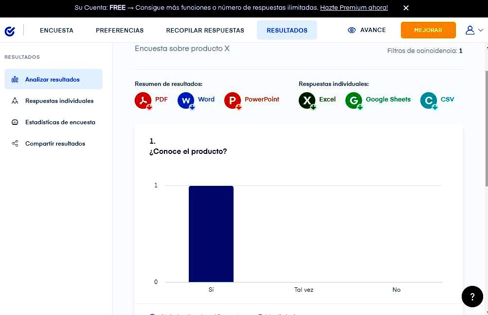 Páginas para hacer encuestas - Resultados de la encuesta Survio