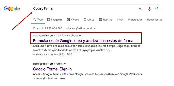 Páginas para hacer encuestas - Acceder al link de Google Forms