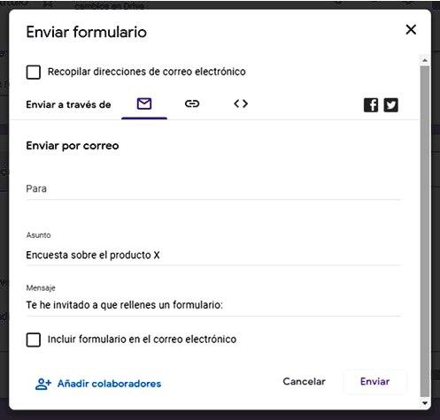 Páginas para hacer encuestas - Opciones de envío Google Forms
