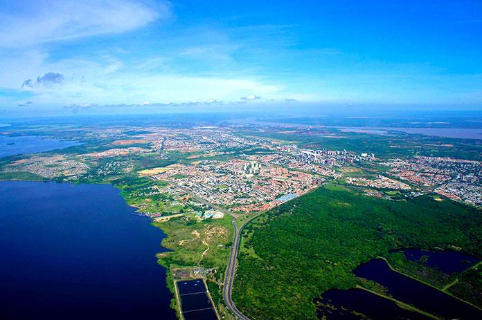 Panorámica aérea de ciudad Guayana