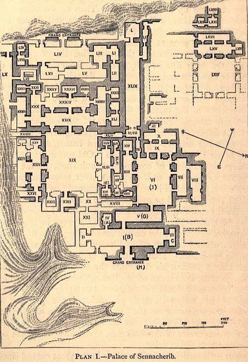 Plano del palacio de Senaquerib