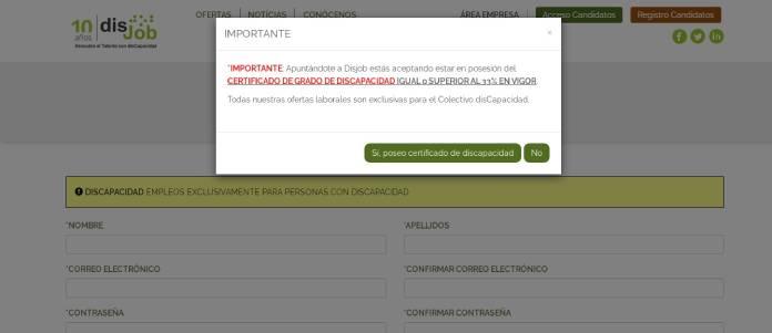 Portales de empleo en España - Disjob certificado de discapacidad