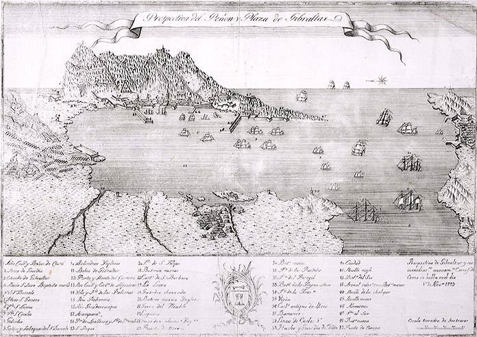 Perspectiva de Gibraltar el 1 de noviembre de 1779.