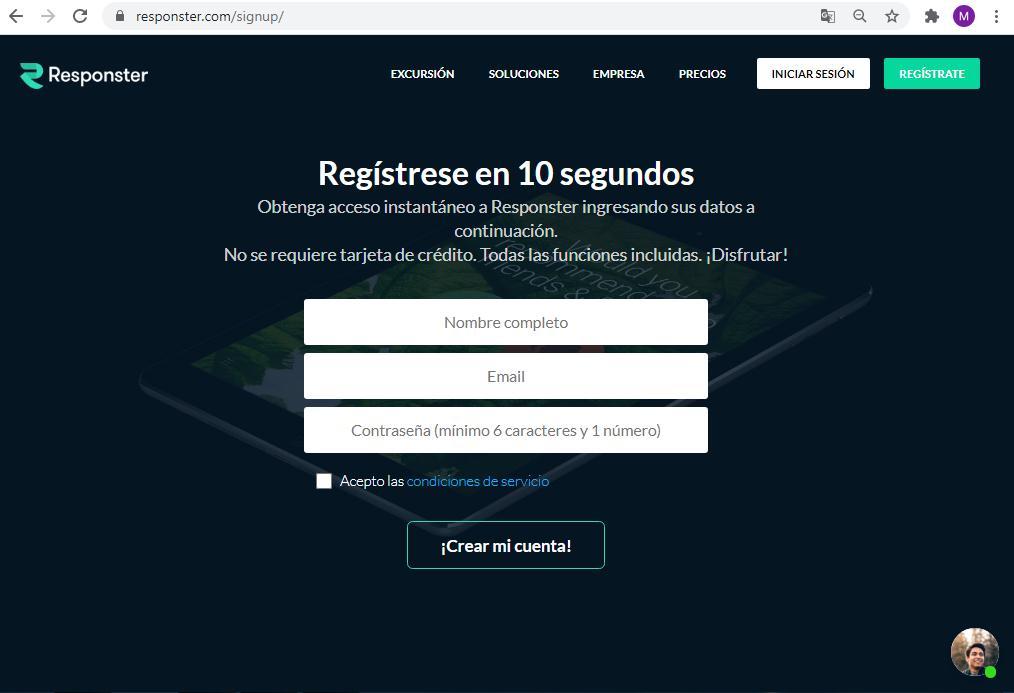 Páginas para hacer encuestas - Registro en Responster