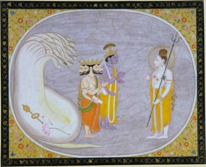 Papel de la mujer en la religión: Hinduismo. Dios Brahma junto a Vishnú y Shiva.