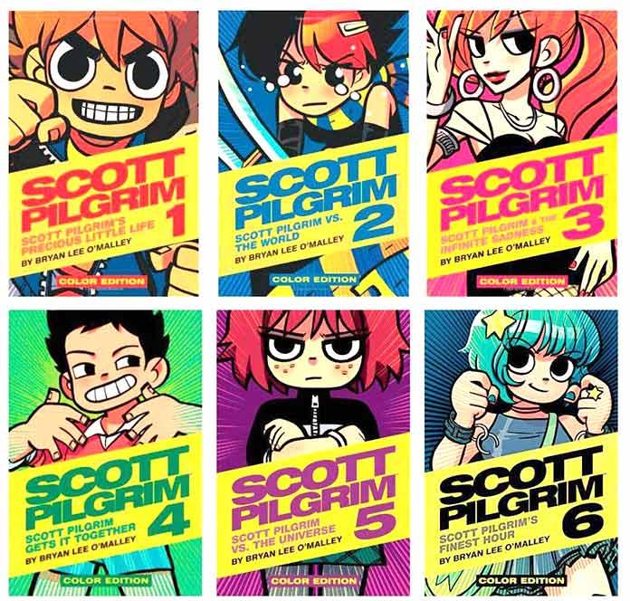 Scott Pilgrim Portadas de los 6 tomos a color