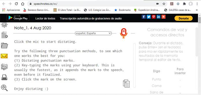 Cómo transcribir audio a texto con Speechnotes