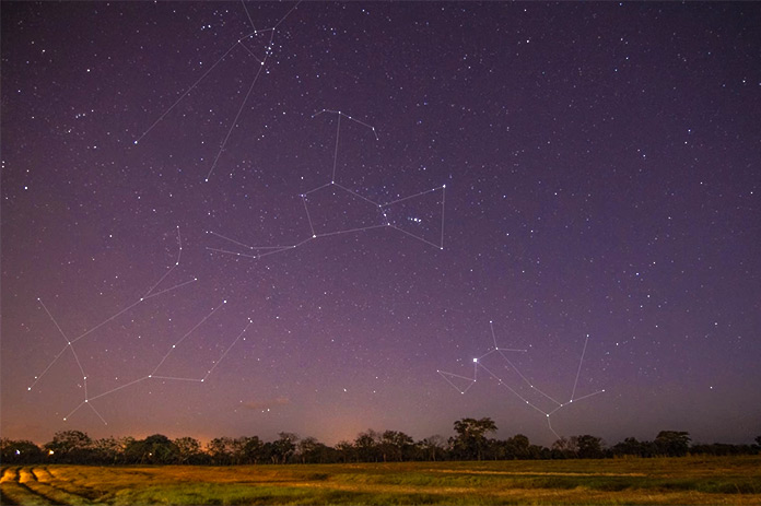 Tauro, Orión, Géminis y Can Mayor con Sirius