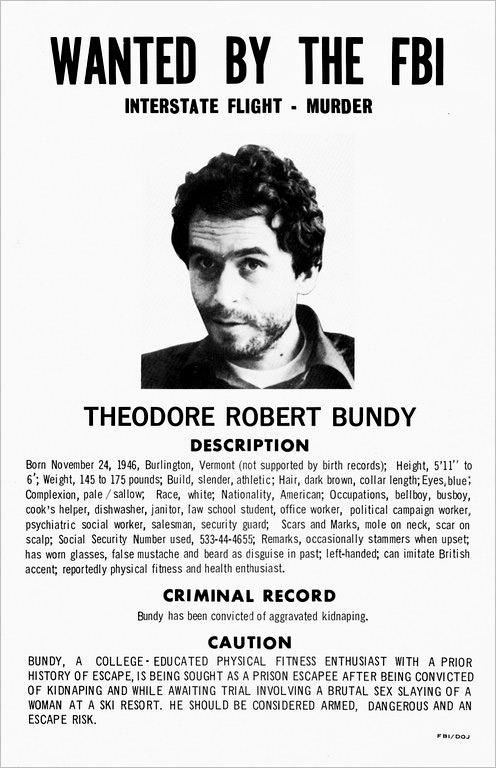 Aviso de busca y captura de Ted Bundy