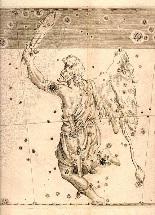 Representación de la constelación de Orión en el libro Uranometria