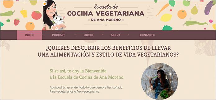 Web La Escuela de Cocina Vegetariana