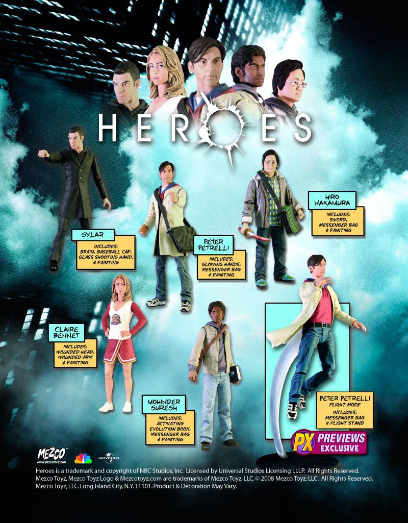 Figuras de acción de los personajes de Héroes