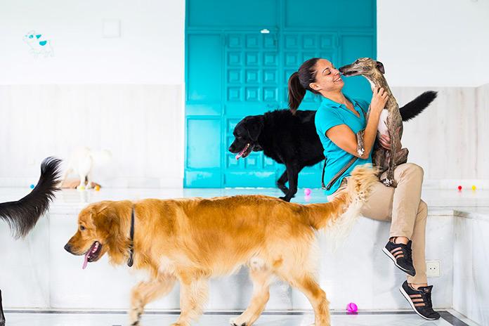 Mujer acariciando a un perro