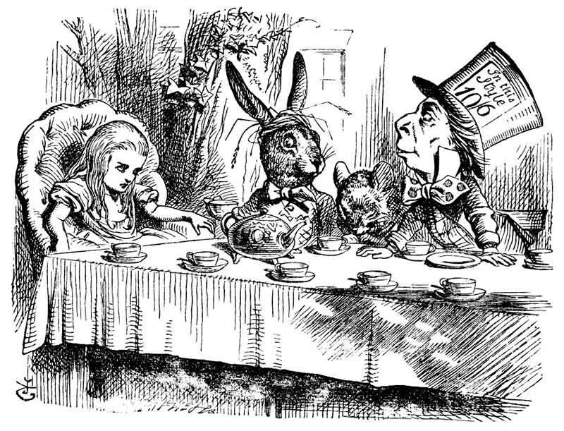 Alicia tomando el té con el sombrerero loco y la liebre marcera