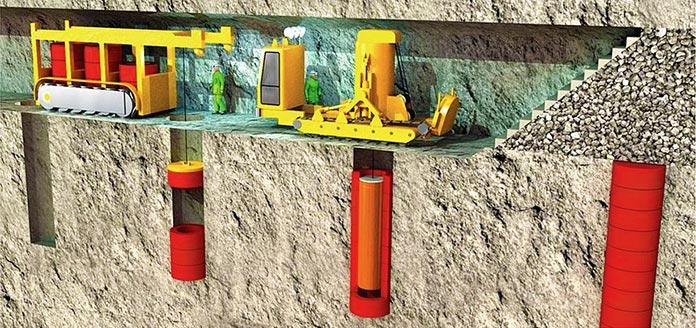 Ilustración de cómo se almacenan los residuos radioactivos bajo tierra