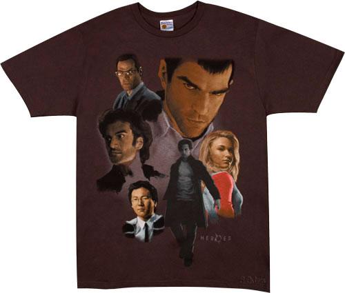 Camiseta con dibujos de los protagonistas de la serie Héroes