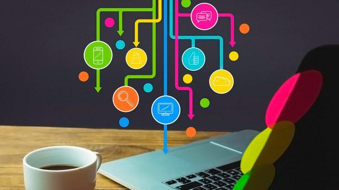símbolos de los canales de marketing sobre una pared junto a un ordenador portátil