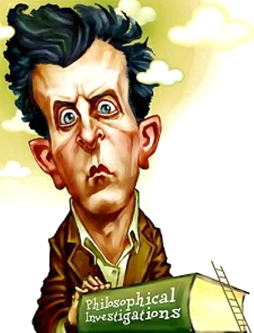 Caricatura de Ludwig Wittgenstein con su libro Philosophical Investigations