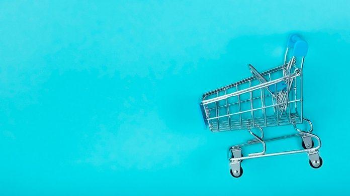 carrito de la compra cobre fondo azul