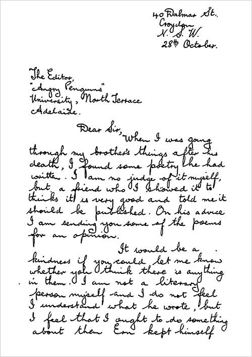 Carta de Ethel Malley a Max Harris