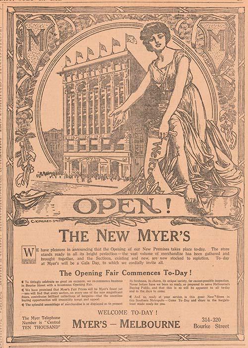 Cartel de inauguración del almacén Myer
