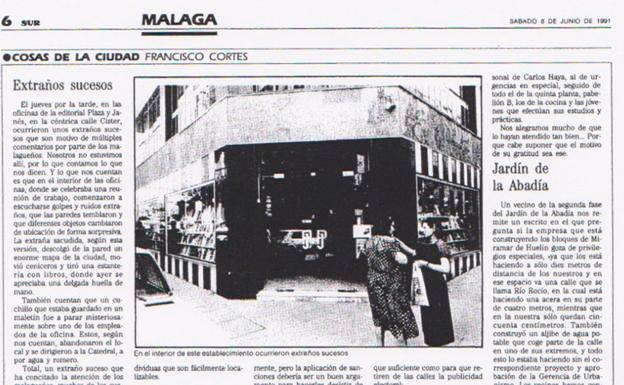 Extraños sucesos de Plaza & Janés en la calle Císter, Málaga, 1991