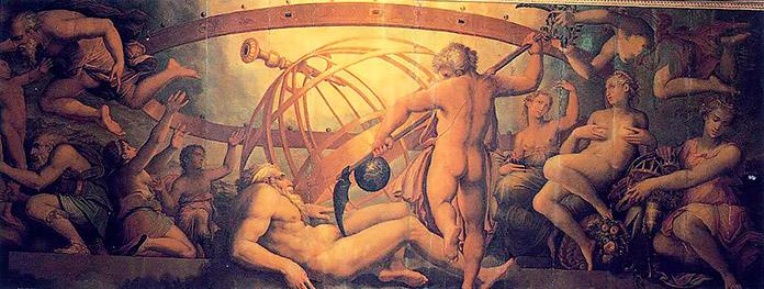"""La castración de Urano"" (Fresco de Giorgio Vasari y Cristofano Gherardi, 1560/ Sala di Cosimo I, del Palazzo Vecchio (Florencia)"