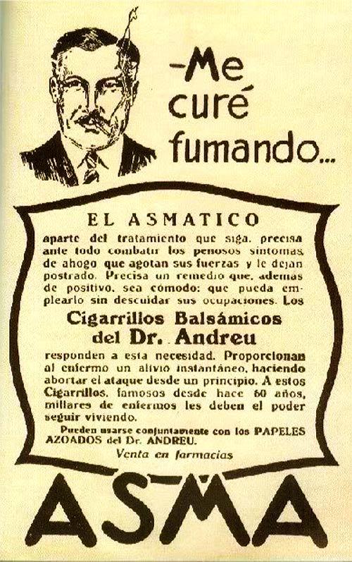 Cigarrillos balsámicos antiasmáticos del Dr. Andreu