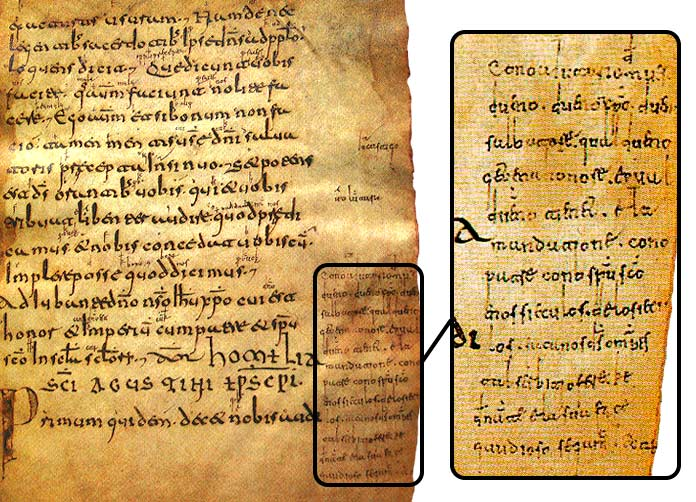 Page 72 of Codex Emilianense 60 with the gloss on the side
