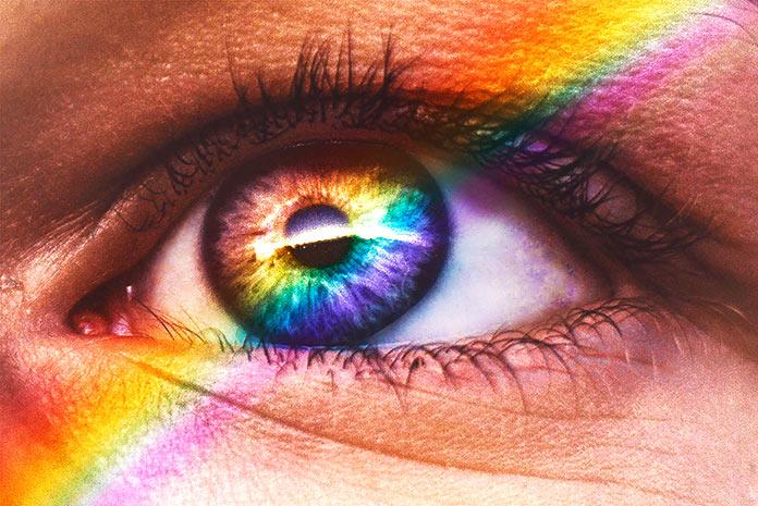 Colores del arco iris que detecta el ojo