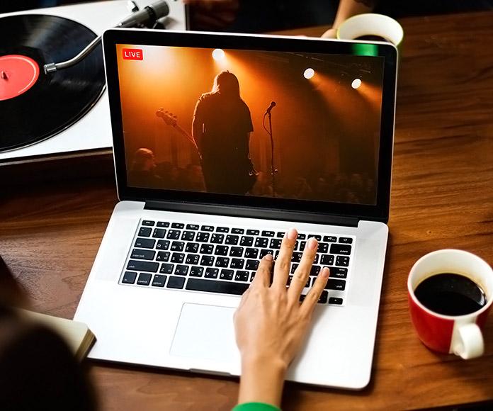 chica viendo un concierto por streaming en un PC