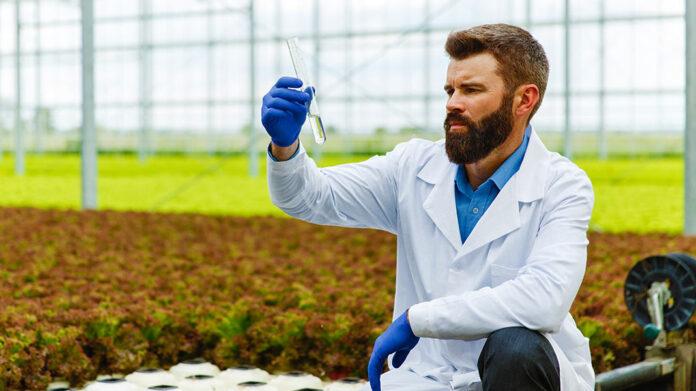 hombre sujetando una prueba de calidad del agua