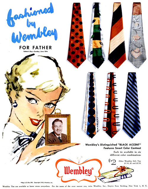 la corbata en 1950