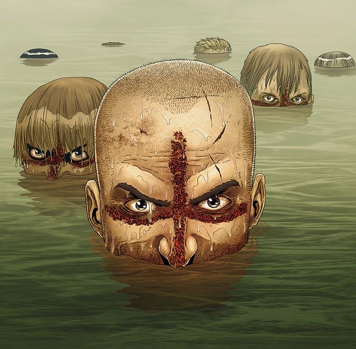 Cruzados del cómic Crossed en el agua