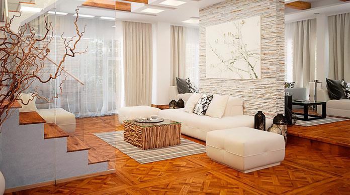 Decoración minimalista de estilo oriental.