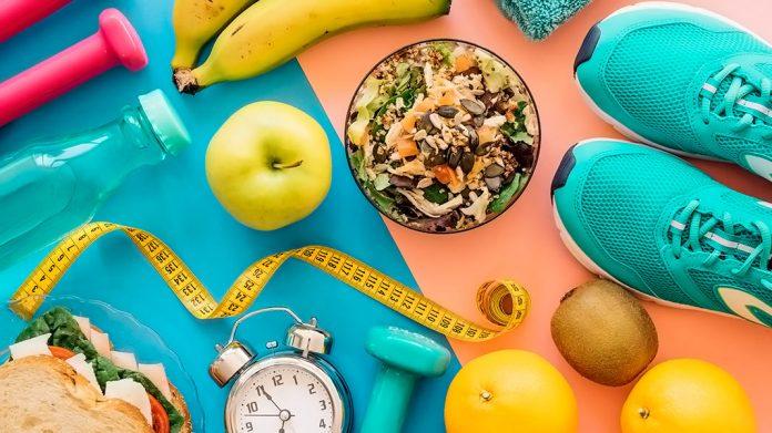 alimentación sana y accesorios de fitness