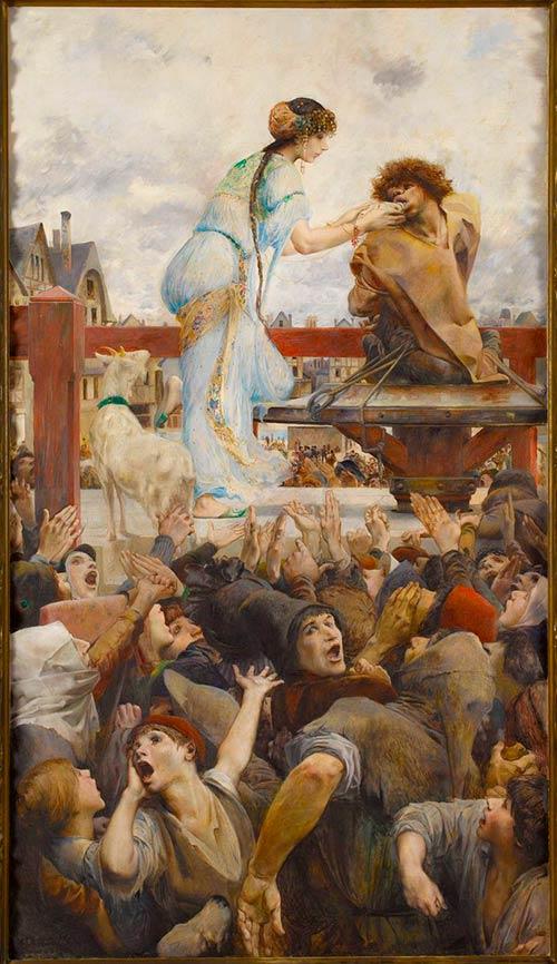 Esmeralda y Quasimodo. Una lágrima por una gota de agua (Luc-Olivier Merson, 1903 / Maisons de Victor Hugo, París, Guernesey)