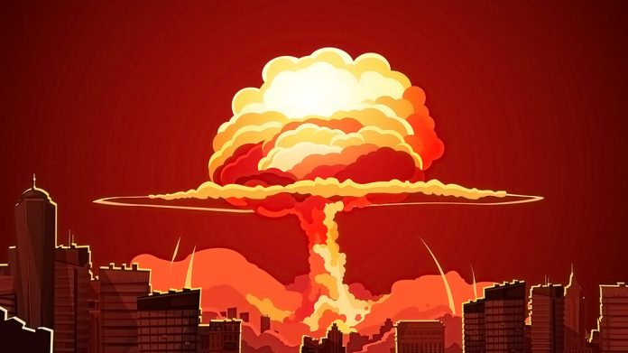 explosión nuclear estilo cómic