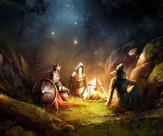 Dibujo de personajes de fantasía alrededor de una hoguera