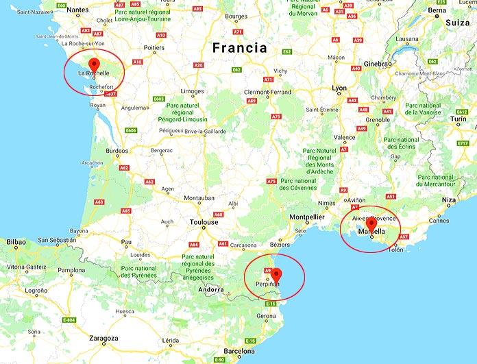 puertos de La Rochelle, Colliure y Marsella