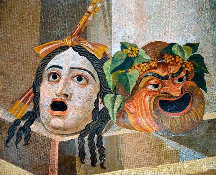 La comedia y la tragedia. Mosaico romano. Siglo II d.C.