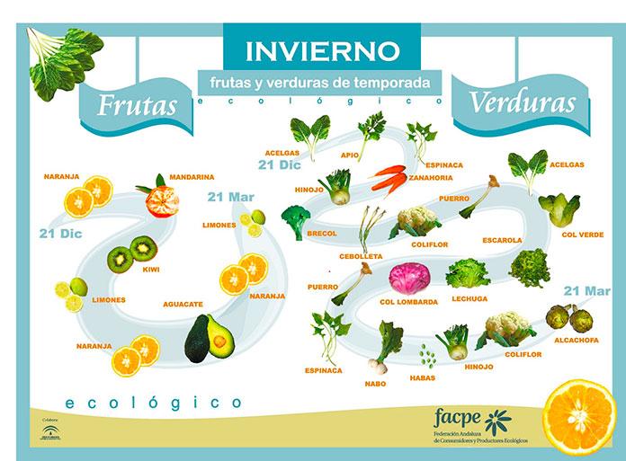 Infografía con las frutas y verduras de invierno