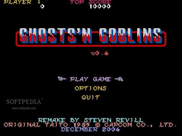 Pantalla de inicio del juego arcade Ghosts'n Goblins
