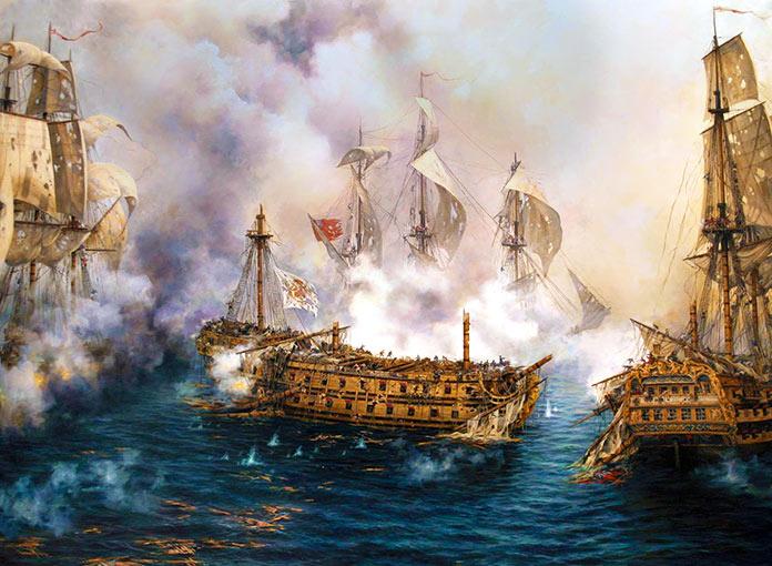 Combates navales. El Glorioso, corsario español