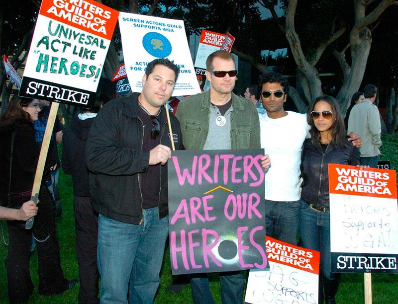 Actores de la serie Héroes en la huelga de guionistas de 2008